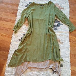 Zanzea Green/Tan Asymmetrical  Dress 16